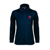 Ladies Fleece Full Zip Navy Jacket-Official Logo