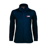 Ladies Fleece Full Zip Navy Jacket-Stacked Combination Logo