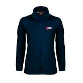 Ladies Fleece Full Zip Navy Jacket-Stacked Combination Logo