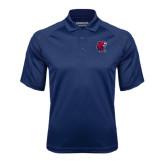Navy Textured Saddle Shoulder Polo-Official Logo