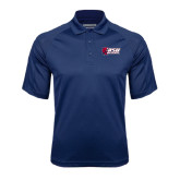 Navy Textured Saddle Shoulder Polo-Stacked Combination Logo