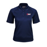Ladies Navy Textured Saddle Shoulder Polo-Stacked Combination Logo