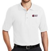 White Easycare Pique Polo-Stacked Combination Logo