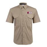 Khaki Short Sleeve Performance Fishing Shirt-Stacked Combination Logo