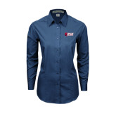 Ladies Deep Blue Tonal Pattern Long Sleeve Shirt-Stacked Combination Logo