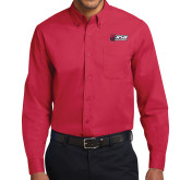 Red Twill Button Down Long Sleeve-Stacked Combination Logo