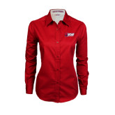 Ladies Red Twill Button Down Long Sleeve-Stacked Combination Logo