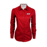 Ladies Red Twill Button Down Long Sleeve-RSU
