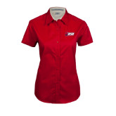 Ladies Red Twill Button Up Short Sleeve-Stacked Combination Logo