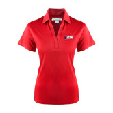 Ladies Red Performance Fine Jacquard Polo-Stacked Combination Logo