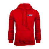 Red Fleece Hoodie-Stacked Combination Logo