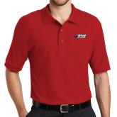 Red Easycare Pique Polo-Stacked Combination Logo