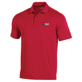 Under Armour Red Performance Polo-Stacked Combination Logo