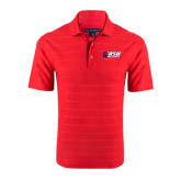 Red Horizontal Textured Polo-Stacked Combination Logo