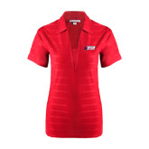 Ladies Red Horizontal Textured Polo-Stacked Combination Logo