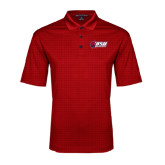 Red Performance Fine Jacquard Polo-Stacked Combination Logo