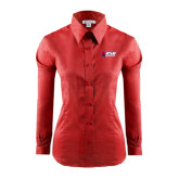 Ladies Red House Red Long Sleeve Shirt-Stacked Combination Logo