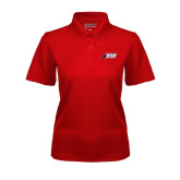 Ladies Red Dry Mesh Polo-Stacked Combination Logo
