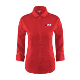 Ladies Red House Red 3/4 Sleeve Shirt-Stacked Combination Logo