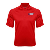 Red Textured Saddle Shoulder Polo-Stacked Combination Logo