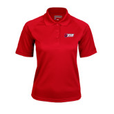 Ladies Red Textured Saddle Shoulder Polo-Stacked Combination Logo