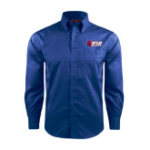 Red House French Blue Long Sleeve Shirt-Stacked Combination Logo