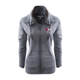 Ladies Sport Wick Stretch Full Zip Charcoal Jacket-Stacked Combination Logo