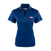 Ladies Navy Performance Fine Jacquard Polo-Stacked Combination Logo