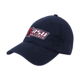 Navy Twill Unstructured Low Profile Hat-Stacked Combination Logo