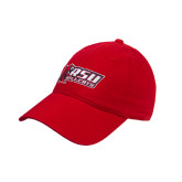 Red Twill Unstructured Low Profile Hat-Stacked Combination Logo