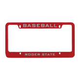 Metal Red License Plate Frame-Baseball