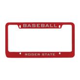 Metal Red License Plate Frame-Baseball