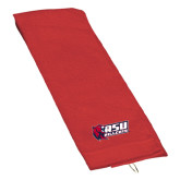 Red Golf Towel-Stacked Combination Logo