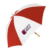 62 Inch Red/White Vented Umbrella-Stacked Combination Logo