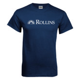 Navy T Shirt-Rollins Institutional Mark Flat