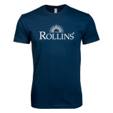Next Level SoftStyle Navy T Shirt-Rollins Institutional Mark Stacked