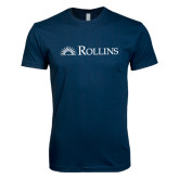 Next Level SoftStyle Navy T Shirt-Rollins Institutional Mark Flat