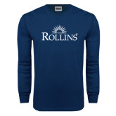 Navy Long Sleeve T Shirt-Rollins Institutional Mark Stacked