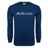 Navy Long Sleeve T Shirt-Rollins Institutional Mark Flat