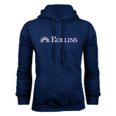 Navy Fleece Hoodie-Rollins Institutional Mark Flat