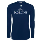 Under Armour Navy Long Sleeve Tech Tee-Rollins Institutional Mark Stacked