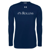 Under Armour Navy Long Sleeve Tech Tee-Rollins Institutional Mark Flat