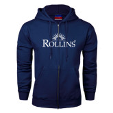 Navy Fleece Full Zip Hoodie-Rollins Institutional Mark Stacked