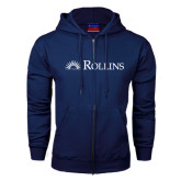 Navy Fleece Full Zip Hood-Rollins Institutional Mark Flat