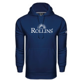Under Armour Navy Performance Sweats Team Hoodie-Rollins Institutional Mark Stacked