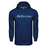 Under Armour Navy Performance Sweats Team Hoodie-Rollins Institutional Mark Flat
