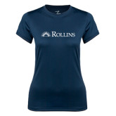 Ladies Syntrel Performance Navy Tee-Rollins Institutional Mark Flat