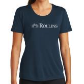 Ladies Syntrel Performance Navy Tee-Rollins Institutional Mark Flat