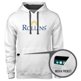 Contemporary Sofspun White Hoodie-Rollins Institutional Mark Stacked