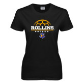 Ladies Black T Shirt-Rollins Soccer Stacked